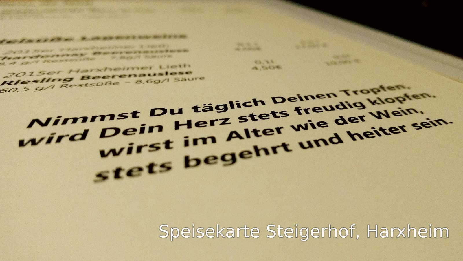 Genießen in der Gutsschänke Steigerhof, Harxheim | Der Entspannende