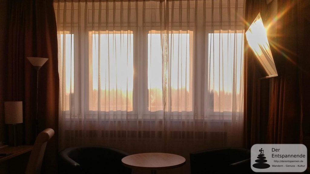 Sonnenaufgang vom 11. Stock des TREFF Hotel Panorama Oberhof: Zimmer 1158