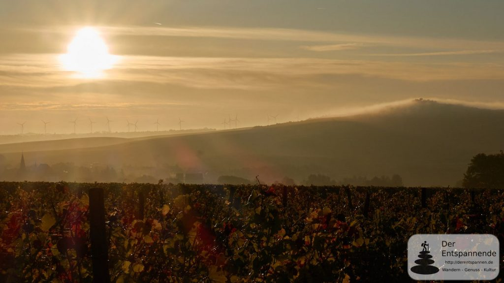 Sonnenaufgang und Nebel über dem Petersberg