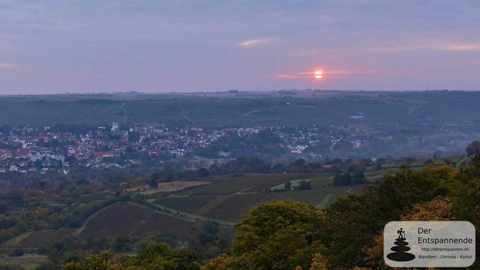 Sonnenaufgang über Ober-Ingelheim und der Burgkirche