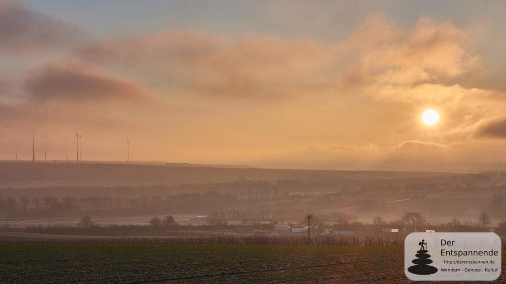 Sonnenaufgang beim Wartbergturm Alzey: Blick ins Weidasserbachtal