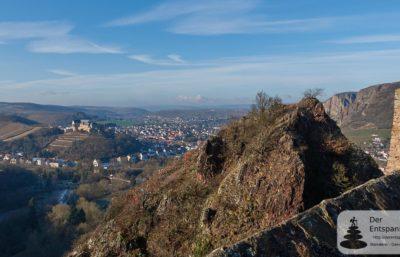 Burg Ebernburg, die Nahe und Rotenfels (von Burg Rheingrafenstein aus)