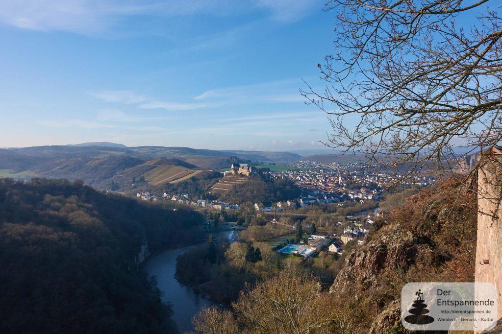 Burg Ebernburg und die Nahe (von Burg Rheingrafenstein aus)