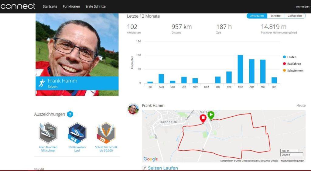 Garmin Connect: Öffentliches Profil Frank Hamm