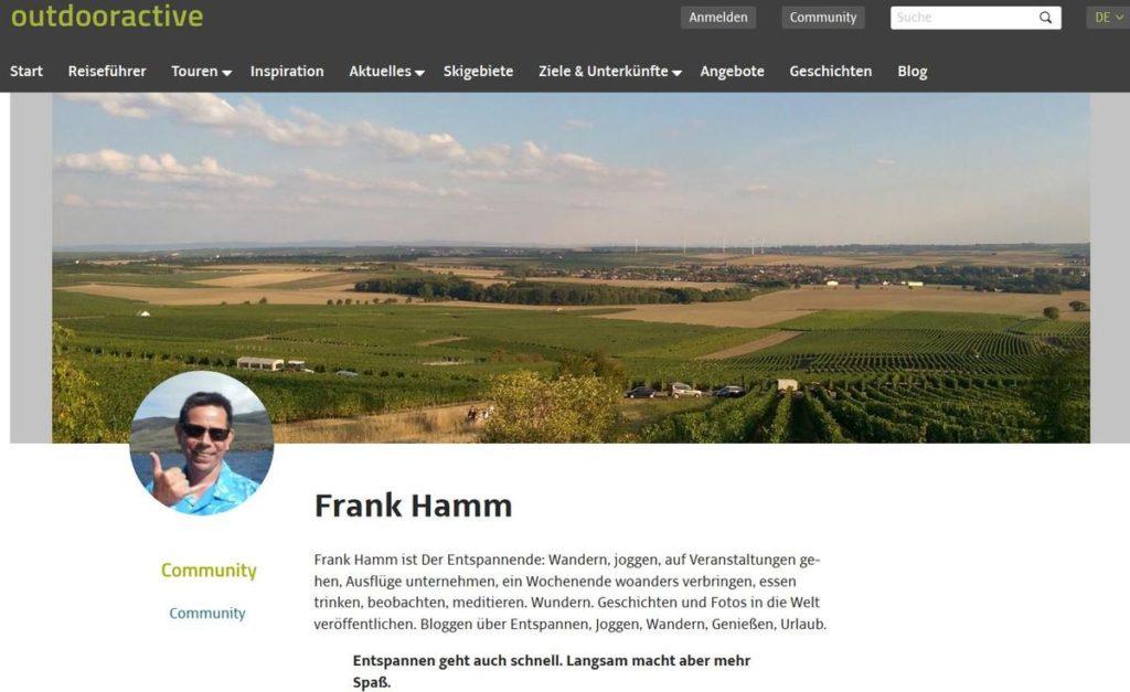 Outdooractive: Öffentliches Profil Frank Hamm