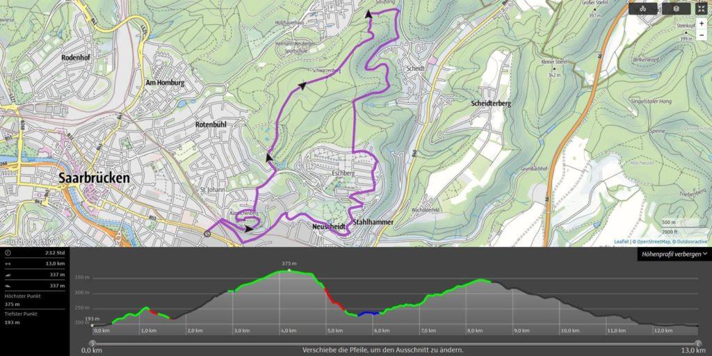 Outdooractive: Streckenplanung für den SunriseRun vor dem Saarcamp