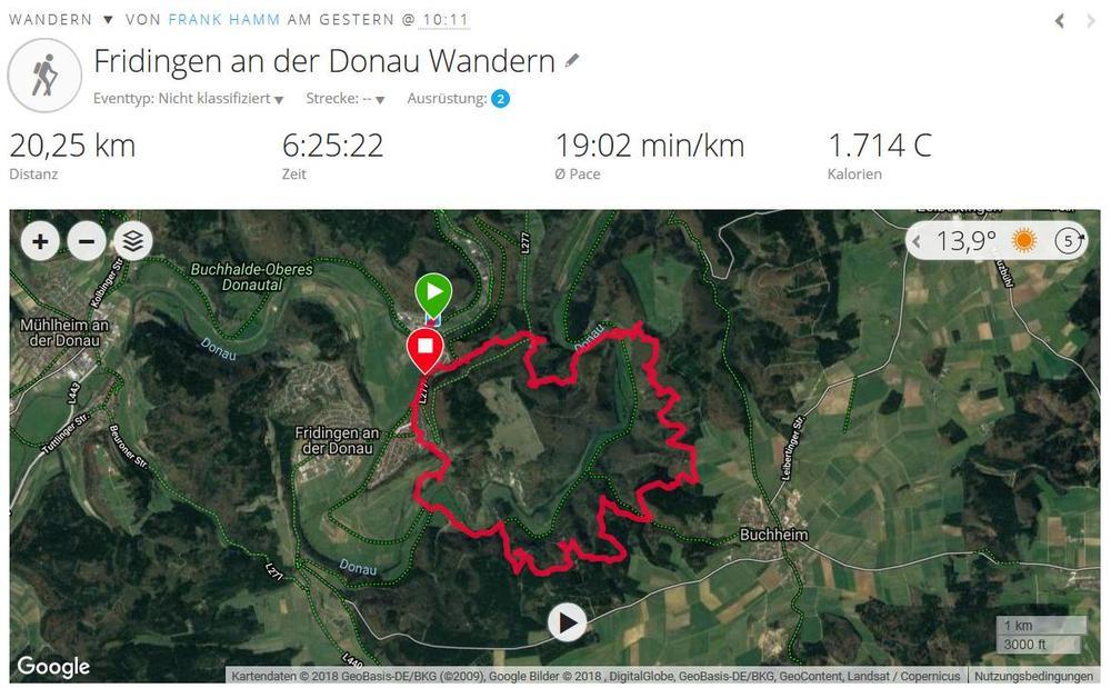 Wandern Donaufelsentour bei Fridingen (2018, Quelle Garmin Connect)