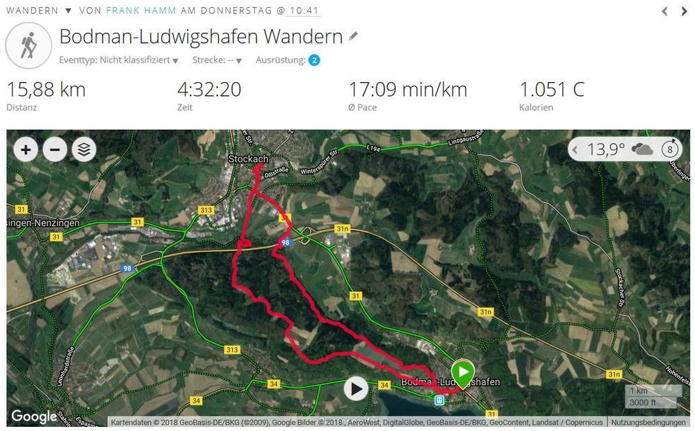Wandern von Ludwigshafen nach Stockach (2018, Quelle Garmin Connect)