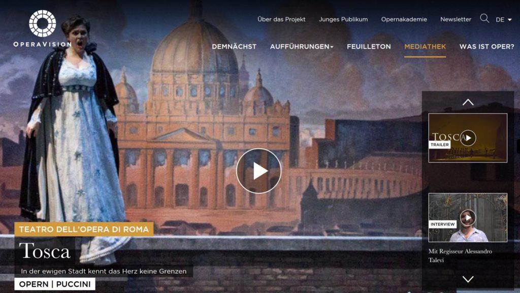 Operavision: Tosca (Screenshot von der Website)