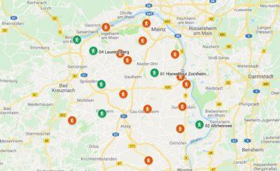 Rheinhessen. Wanderungen für die Seele. Planung, Stand März 2019 (Screenshot Google MyMaps)