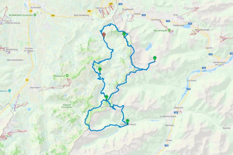 Grenzgänger-Planung im April 2019 (Screenshot Google My Maps)