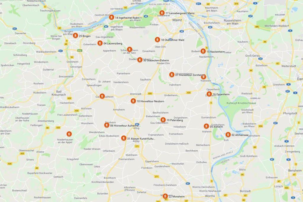 Rheinhessen. Wanderungen für die Seele. Planung, Stand Juni 2019 (Screenshot Google MyMaps)