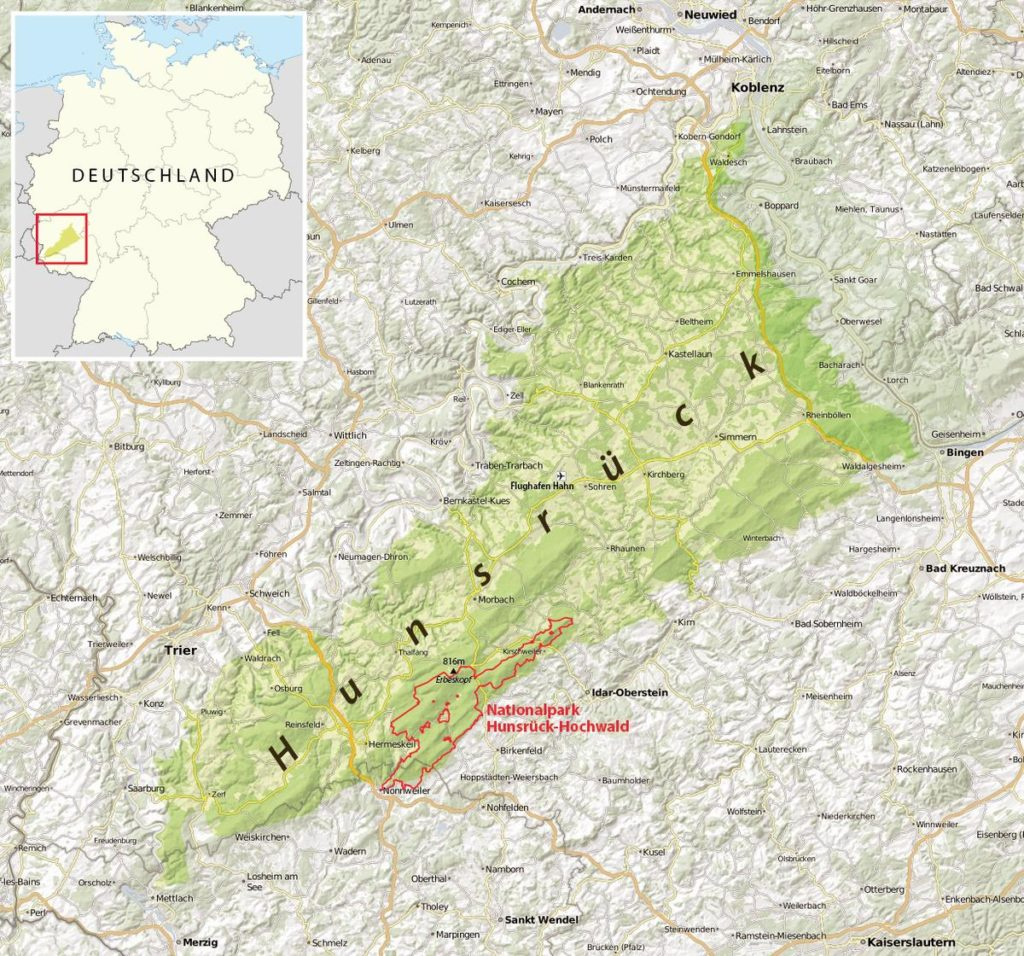 Karte Hunsrück mit Nationalpark - Von Maximilian Dörrbecker (Chumwa) - Eigenes Werk, usingthis map by NordNordWestthis map for the borders of the Nationalpark Hunsrück-HochwaldOpenStreetMap data, CC BY-SA 2.0