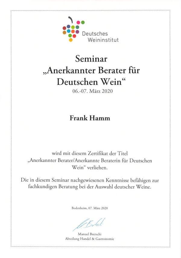 Anerkannter Berater für Deutschen Wein (Deutsches Weininstitut)