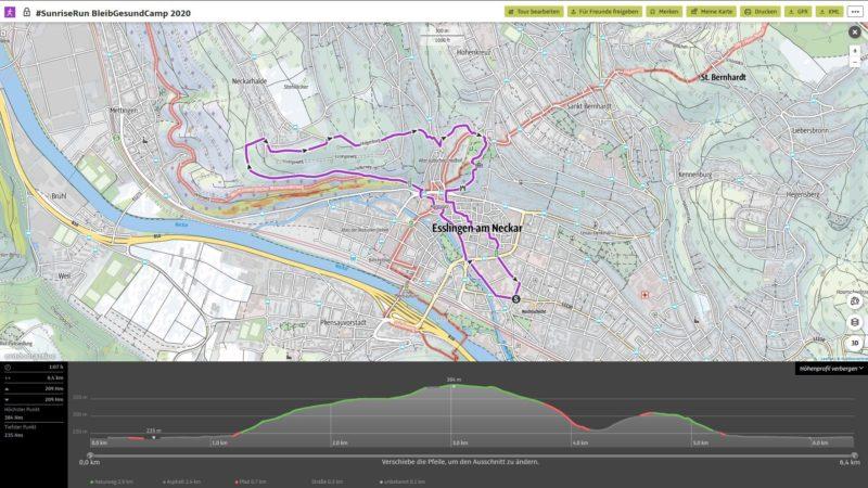 #SunriseRun zum BleibGesundCamp in Esslingen am 14.03.2020 (geplant; Quelle: Screenshot Outdooractive)