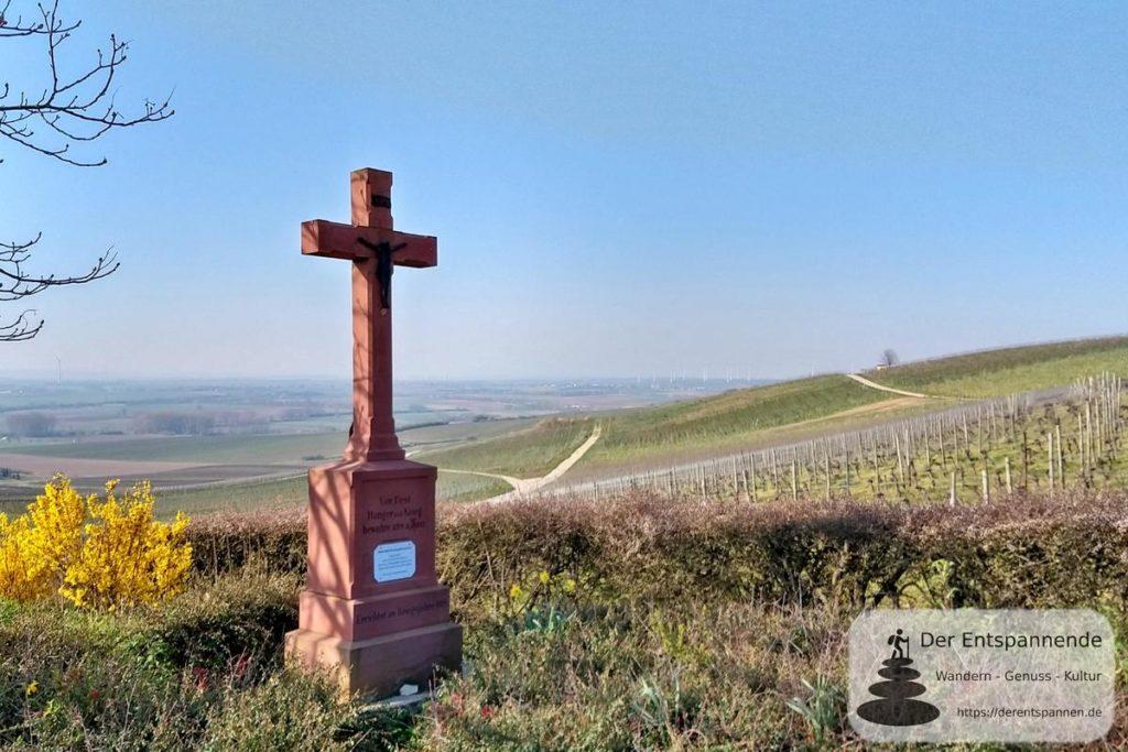 Schönste Weinsicht Rheinhessen: Zornheimer Ruhkreuz - Hiwweltour Zornheimer Berg