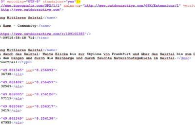 Beispiel für GPX-Dateiformat: Wanderung Mittleres Selztal