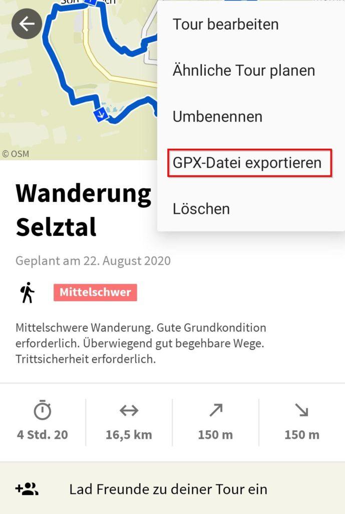 Beispiel: GPX-Datei für Wanderung aus Komoot (App) downloaden