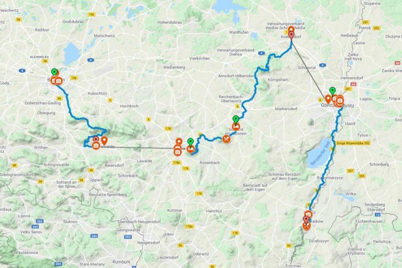 Pilgerwandern Via Sacra von Bautzen nach Görlitz mit Rad-Abstecher zum Kloster St. Marienthal (Screenshot Google My Maps)