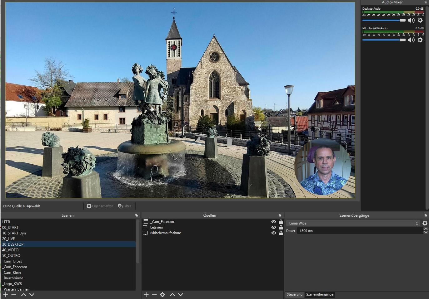 OBS Studio bei Virtueller Weinwanderung: Desktopszene