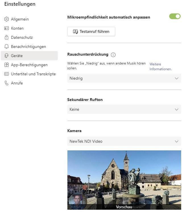 Microsoft Teams bei Virtueller Weinwanderung: Kamera NewTek NDI Video auswählen