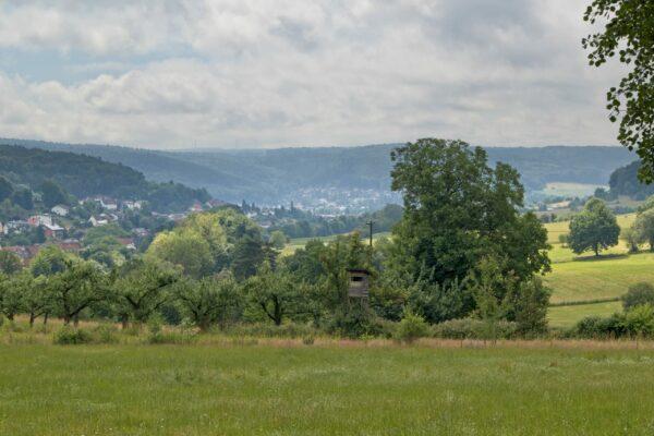Blick auf Hetschbach und Höchst im Odenwald