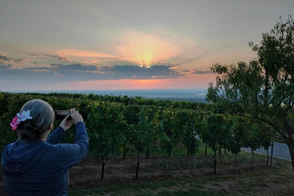 Manuela bei Sonnenaufgang am Niersteiner Wartturm